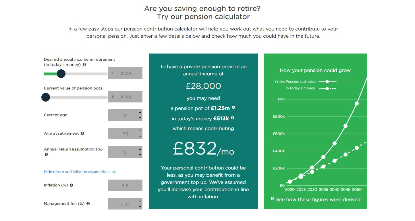 Nutmeg pension calculator