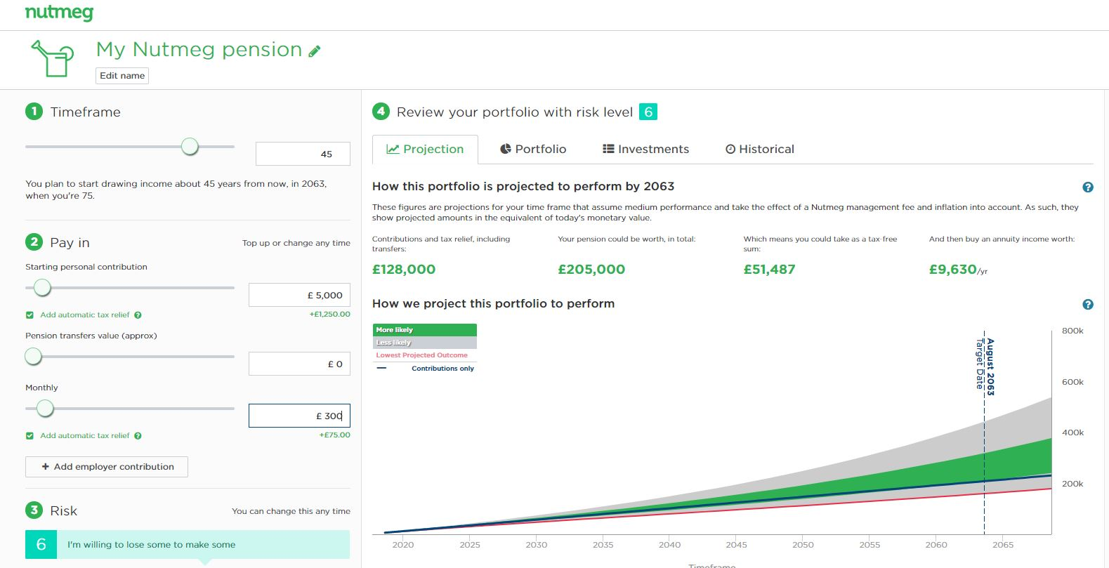 nutmeg pension projection