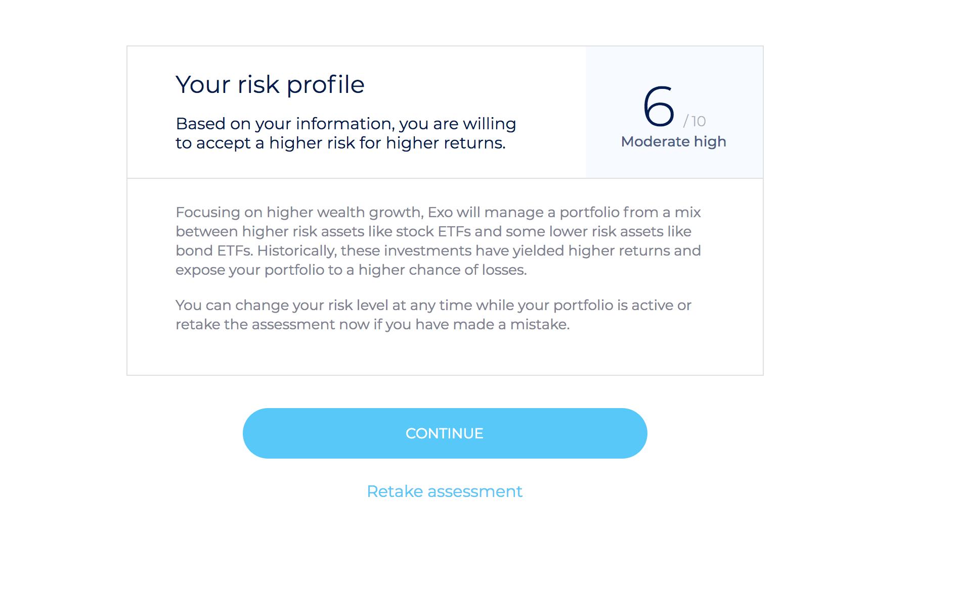 Exo investing risk profile
