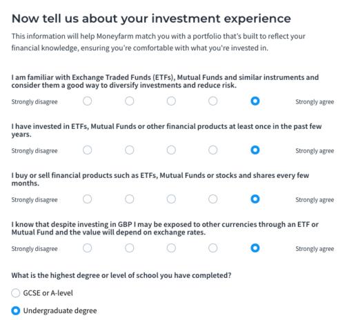 Moneyfarm risk questionnaire
