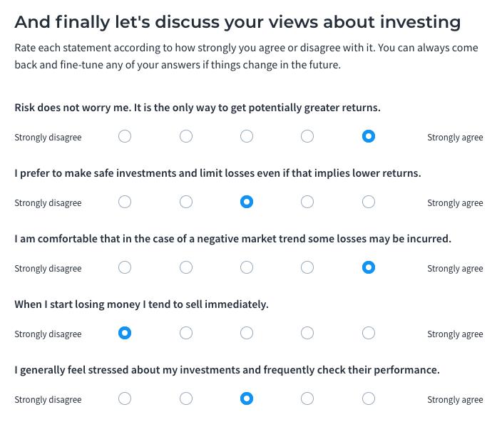 Moneyfarm risk questionnaire page 2