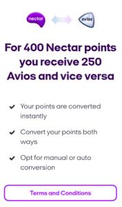 Avios Nectar conversion