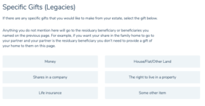 Make a will online review step 1